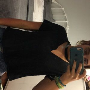 Super cute black t shirt with choker and holes